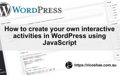 Adding JavaScript activities to WordPress